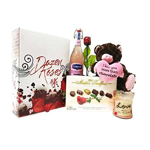 I Love You Gift Basket Chocolate Collection - Features Madelaine Semi Solid Milk Chocolate Rose, Love Woodwick Crackling Candle, Plush Chocolate Kiss Bear & Lorina Pink Citrus Sparkling (Semi Solid Milk Chocolate)