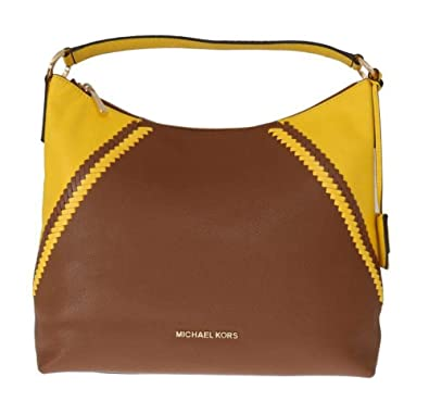 2f080275415e MICHAEL Michael Kors Women s Karson Luggage Citrus Pebbled Leather Large  Shoulder Bag