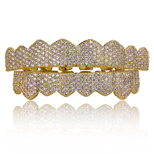 JINAO 18K Gold Plated Gold Finish 8 Top Teeth & 8 Bottom Tooth Hip Hop Mouth Grills (Gold ICED Out CZ)