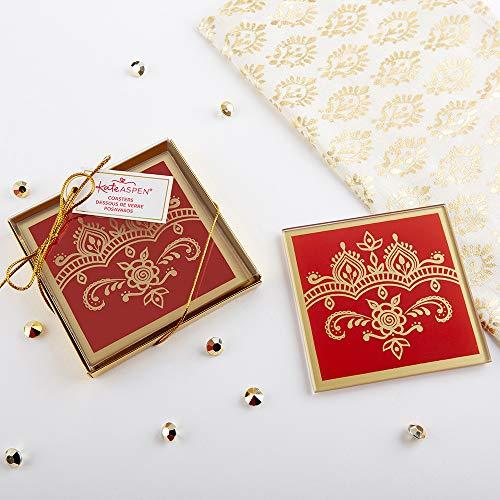 Kate Aspen 27182NA Indian Jewel Square Glass Set of 2 Coaster Set, 0, red, gold