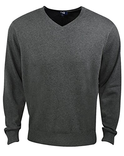 Cutter & Buck Men's Machine Washable Lakemont V-Neck Sweater, Charcoal Heather, X-Large