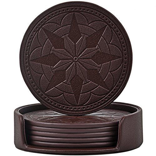 365park Oasters,PU Leather Coasters for Drinks Set of 6 with Holder-Protect Your Furniture from Stains Coffee