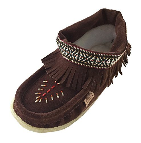 Laurentian Chief Women's Crepe Sole Suede Ankle Fringed Beaded Moccasins (10) Chocolate Brown