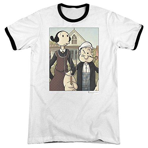 (Popeye Popeye Gothic Unisex Adult Ringer T Shirt for Men and Women, Small White/Black)