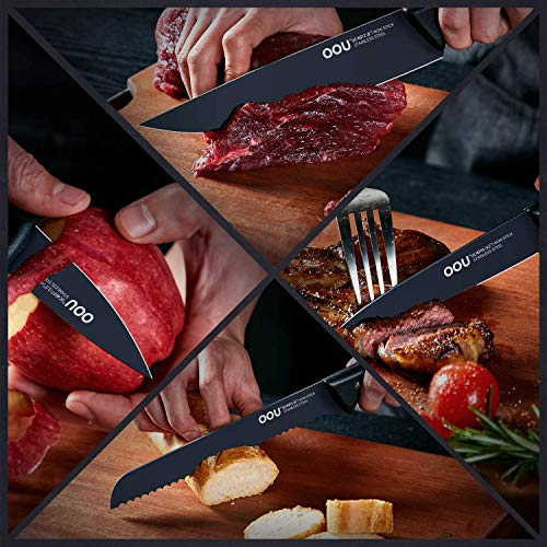 Knife Set, OOU 15 Piece Kitchen Knife Set, High Carbon Stainless Steel, FDA Certified BO Oxidation for Anti-rusting, Ultra Sharp Premium Edge Tech, Full Tang Black Chef Series by OOU! (Image #4)