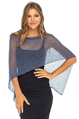 (Back From Bali Womens Sheer Poncho Shrug Bolero, Lightweight Summer Shrug Pullover Sweater Blue Jean)