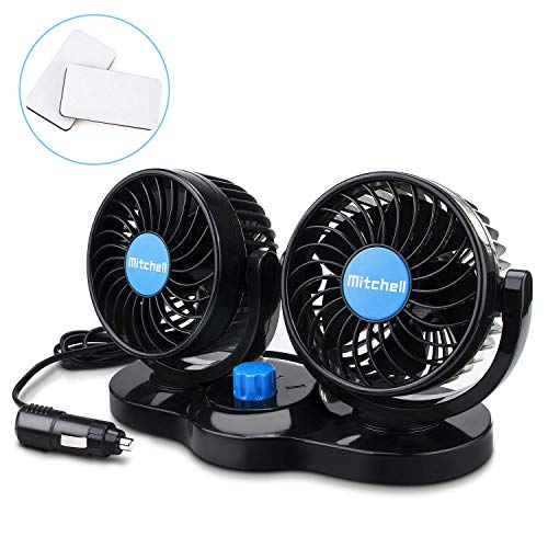 Welltop Upgrade Dual Head Car Auto Cooling Air Fan 360 Rotating Free Adjustment, Powerful Quiet 2 Speed Rotatable 12V Ventilation Dashboard Electric Car Fans Summer Cooling Air Circulator