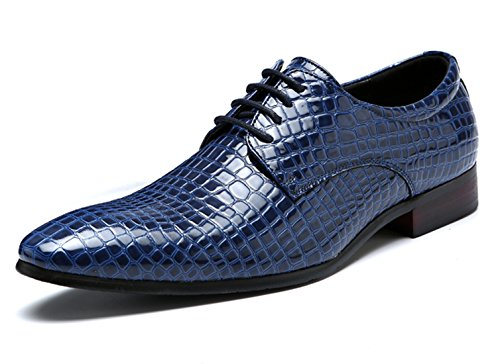 Blue Oxford Dress Shoes Men Pointed Toe Italy Alligator Patent Leather Lace Up Wedding Formal Derby Shoes 7 D(M) US by Santimon
