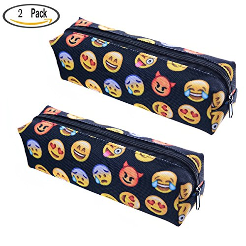 Buytra Emoji Pencil Pen Case Pouch Bag with Zipper for Girls,Kids,School Student Stationery Office Supplies,Black,Set of 2