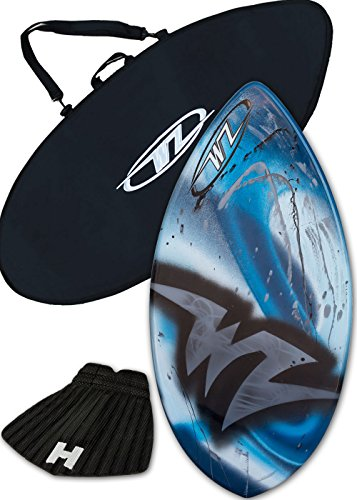 Skimboard Package – Blue – 42 Fiberglass Wave Zone Edge plus Board Bag and or Traction Pad – For Riders up to 130 lbs Board Traction