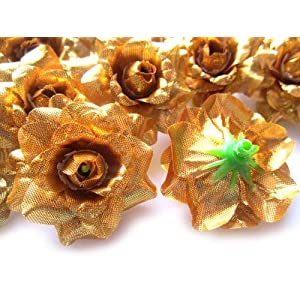 "(100) Silk Gold Roses Flower Head - 1.75"" - Artificial Flowers Heads Fabric Floral Supplies Wholesale Lot for Wedding Flowers Accessories Make Bridal Hair Clips Headbands Dress 2"