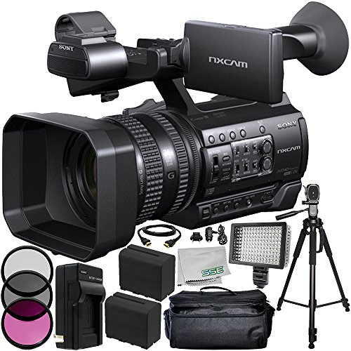 Sony HXR-NX100 HD NXCAM Camcorder (PAL Version) 10PC Bundle - Includes 2 Replacement F970 Batteries + AC/DC Rapid Home & Travel Charger + MORE by SSE