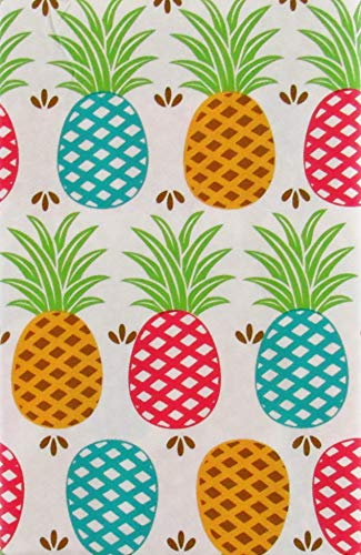 (Colorful Lattice Pineapples Vinyl Flannel Back Tablecloth (52