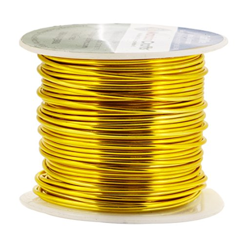 Mandala Crafts Anodized Aluminum Wire for Sculpting, Armature, Jewelry Making, Gem Metal Wrap, Garden, Colored and Soft, 1 Roll(16 Gauge, Gold)