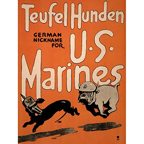 Wee Blue Coo Propaganda War WWI Us Marines Recruit Enlist Dog Devil Military Large Art Print Poster Wall Decor 18x24 inch