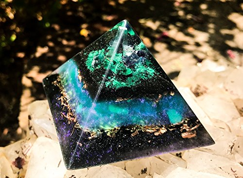 Violet Flame Orgone Alchemist's Crystal Pyramid (Flames Art Copper Wall)