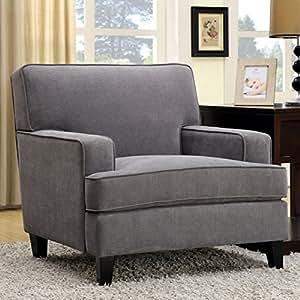 Furniture of America Varinne Modern Flannelette Chair Grey