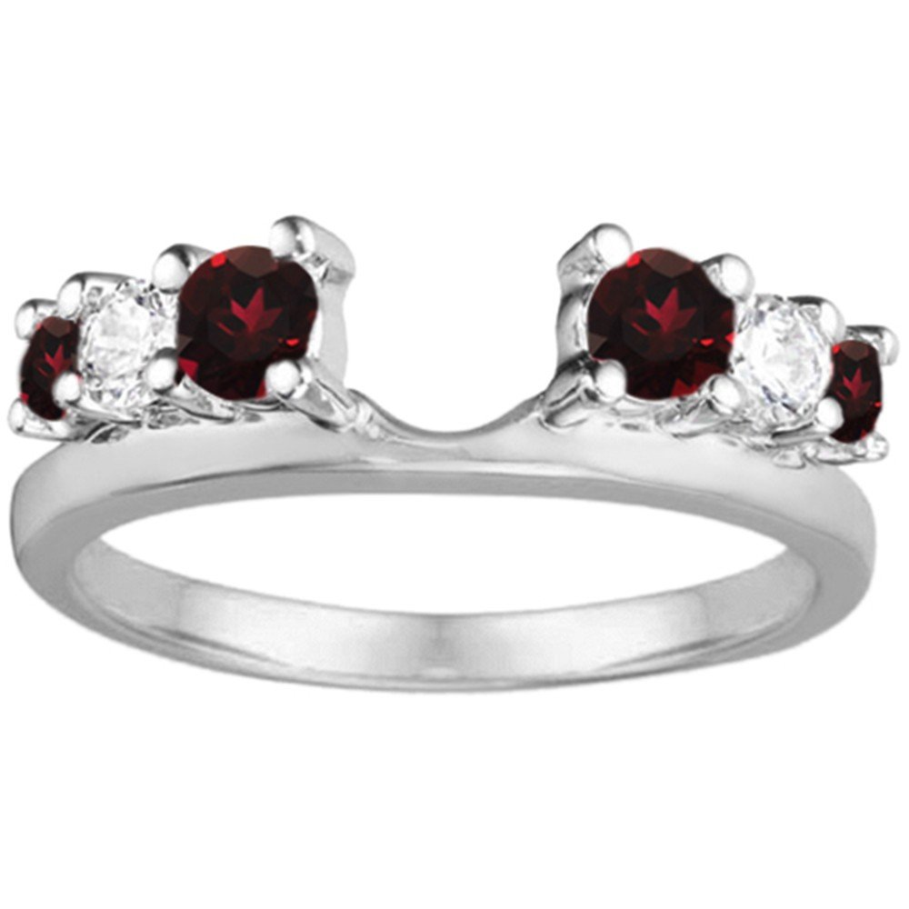 Diamond and Created Ruby Ring Wrap Enhancer set in Sterling Silver (0.27 ct. twt)