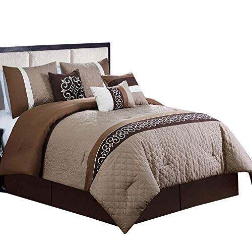 Ruhi Coffee, Brown and Beige California King size Luxury 11 piece Comforter set includes Comforter, sheets, skirt, Throw Pillows, Pillow Shams [並行輸入品] B07RCF16RR
