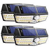 LITOM 30 LED Solar Lights Outdoor, Wireless Solar Motion Sensor Lights with 270°Wide Angle, IP67 Waterproof, Easy-to-Install Security Lights(Warm White) for Front Door, Yard, Garage, Deck-4 Pack