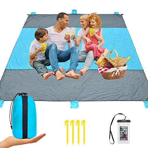 iValley Sand Proof Beach Blanket, 9'x10' Extra Large Compact Beach Mat for 7 Adults Waterproof Picnic Blanket for Camping, Hiking, Travel - Quick Drying Heat Resistant Nylon, 4 Anchor Loops & Stakes