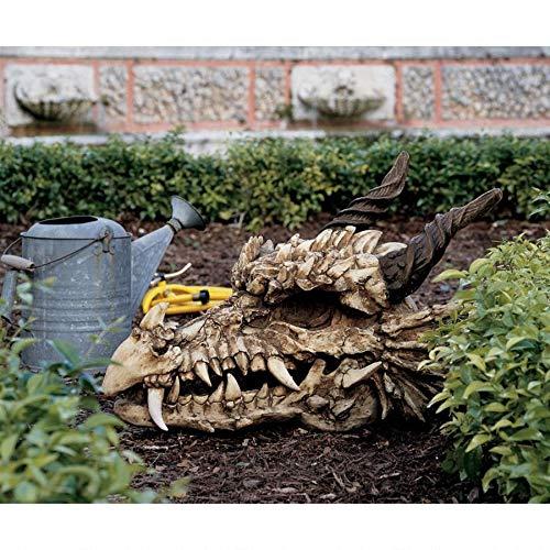 Design Toscano Stoker's Moors Dragon Skull Gothic Garden Statue, Large, 26 Inch, Polyresin, Full Color]()