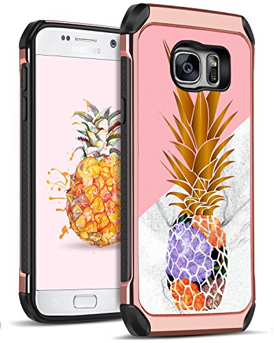 DOMAVER Galaxy S7 Pineapple Case 2 in 1 Slim Hybrid Hard PC Soft TPU Girls Women Cover with Cute Pineapple design Shockproof Protective Cell Phone Case for Samsung Galaxy S7, Rose Gold/Pink