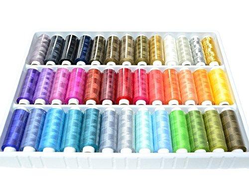 39 Spulen von 250 Metern Bunte Farben 100% Polyesterr, Nähgarn - Farbig sortiert [version:x8.1] by DELIAWINTERFEL