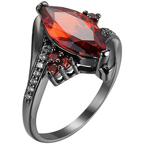 XAHH Women Black Gold Marquise Cut Red Ruby Ring Round Cubic Zirconia CZ Vintage Engagement Wedding Band Size 6 (Vintage Bands Ruby)