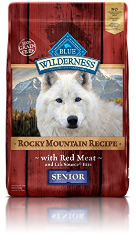 Blue Buffalo Wilderness Rocky Mountain Recipe High Protein Grain Free, Natural Senior Dry Dog Food, Red Meat 22-lb