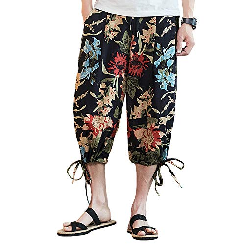 INVACHI Men's Elastic Waist Floral Printed Pattern Wide Leg Cotton Harem Baggy Pants Patchwork Linen Capri Trousers -