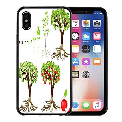 Emvency Phone Case for Apple iPhone Xs Case/iPhone X Case,Part Green Plant Life Cycle of Apple Tree Growth Soft Rubber Border Decorative, Black
