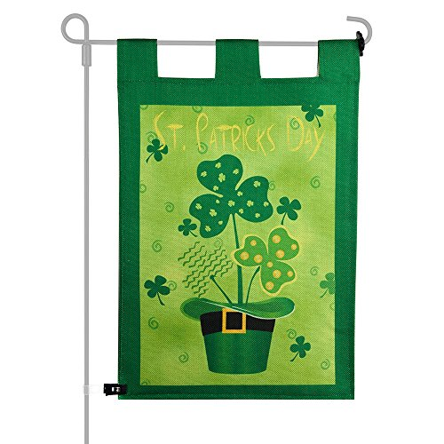 KUUQA Happy St. Patrick's Day Garden Flag Decorative Clovers Irish Green Shamrocks 12 x 18 Inches for Garden and Home Decorations