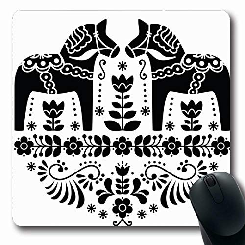 Ahawoso Mousepads Old Nordic Swedish Dala Daleclarian Horse Floral Sweden Folk Vintage Pattern Scandinavian Toy Oblong Shape 7.9 x 9.5 Inches Non-Slip Gaming Mouse Pad Rubber Oblong - Sweden Shape