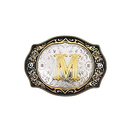 Western Belt Buckle Initial Letters ABCDMRJ to Z Cowboy Rodeo Gold Belt Buckles for Men Women