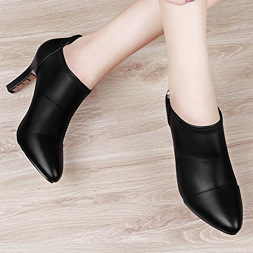 Tip Female Spring Stilettos 6Cm With KPHY Ladies Match Single All Leather Black Autumn In Shoes Shoes Shoes 4FFnHUq