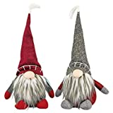 Hanna's Handiworks Medium Gnome Hat Sitter Red and Grey 16 x 8 Fabric Christmas Figurines Set of 2