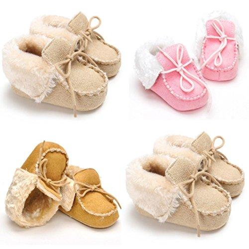 ❆HUHU833 Kinder Mode Baby Schuhe, Baby Keep Warm Soft Sohle Krippe Schuhe Anti-Rutsch Kleinkind Button Flats Baumwolle Stiefel (0~18 Month) Beige