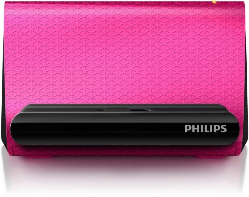 Philips SBA1710 Prism Portable Smartphone Speaker Cradle with 3.5mm Auxiliary Cable (Pink SBA1710PNK) -