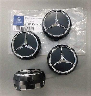4/X /Édition limit/ée exclusive AMG Mercedes Noir minuit Centre de roue Caps 75/mm A B C D S SLK A45/AMG