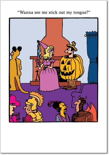 3051 'See My Tongue' - Funny Halloween Greeting Card with 5
