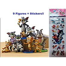 Tom and Jerry 9 Piece Play Set Plus Stickers by Infinite Deals and Creations with 9 Tom, Jerry, and Spike Figures Cake Toppers and Toy Figures Great for Gifts