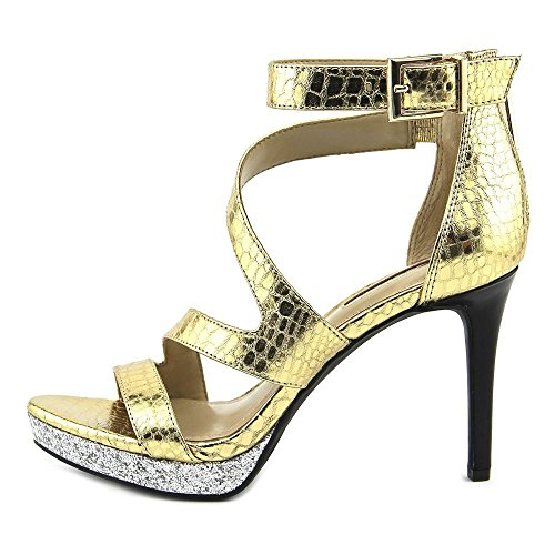 Gold Women BCBGeneration Platform Dark Silver Eddi Toe Synthetic Open Heel Anaq6w