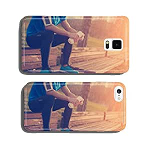 Tired athlete resting on the bench in park with bottle of water cell phone cover case iPhone6 Plus