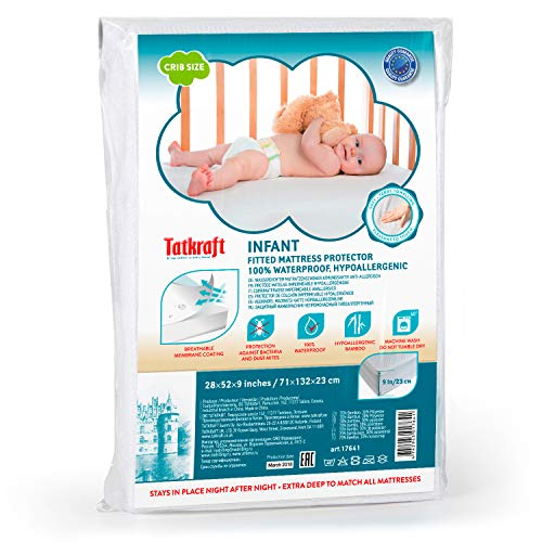 Towelling Mattress Protector (Tatkraft Infant Ultra Soft Crib Mattress Protector | Waterproof Crib Mattress Cover | Crib Mattress Pad | Baby Fitted Mattress Protector, Hypoallergenic, Breathable, Bamboo 28 X 52 X 9)