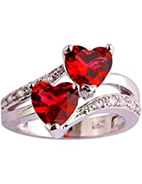 925 Sterling Silver Plated Created Heart Blue&White Topaz Womens Promise Ring