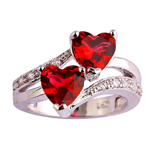 Emsione Vintage 925 Sterling Silver Plated Halo CZ Double Heart Created Ruby Spinel&Topaz Love Wedding Promise Ring