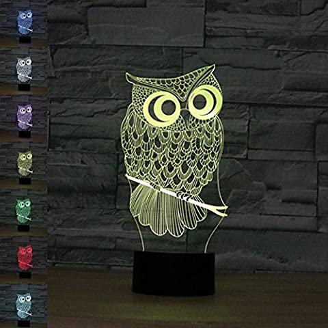 3D Illusion Lamp Gawell Night Light Owl 7 Changing Colors Touch USB Table Nice Gift Toys (Meditation Claw Bell)