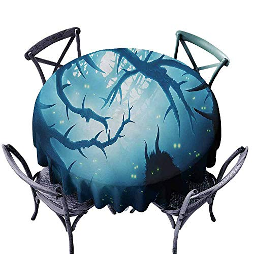 Ficldxc Round Tablecloth Mystic Animal with Burning Eyes in The Dark Forest at Night Horror Halloween Illustration Navy White and Durable D71 -