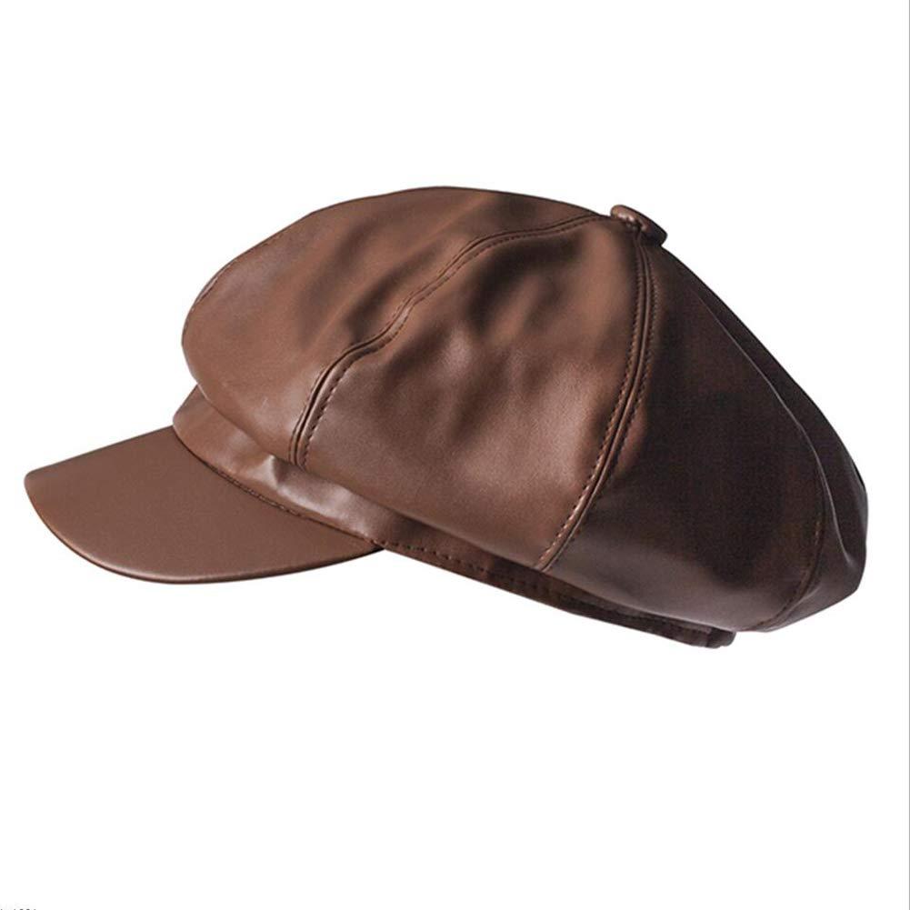 ZHML Sombrero Moda Simple Sombrero Octagonal Trend Wild Beret Opcional (Color : Brown, Tamaño : Metro)